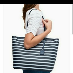 Kate Spade Janie medium striped tote blue